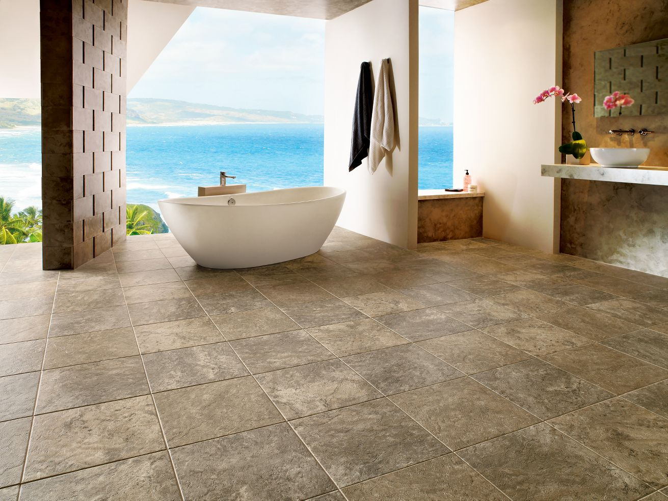 Armstrong alterna reserve classico travertine sandstone for Vinyl floor tiles in bathroom