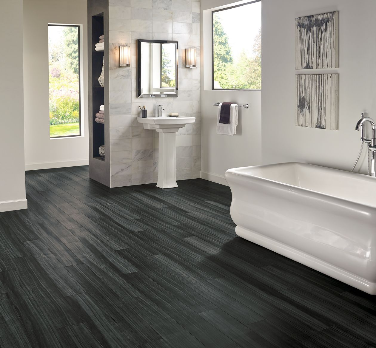 Armstrong luxe fastak empire walnut flint gray vinyl flooring for Armstrong homes price per square foot