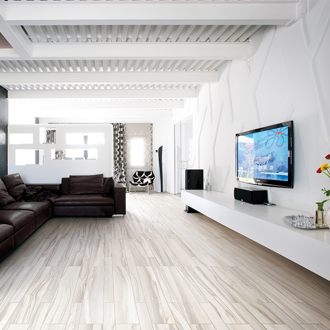 white porcelain tile floor.  Cerdomus Epic White 8 quot x 40 Tile Flooring