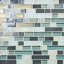 "Daltile Glass Horizons Atlantic Blend 12"" x 12"" Random Linear Mosaic"