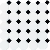"Daltile Octagon Dot 12"" x 12"" Matte White with Black Gloss Dot"