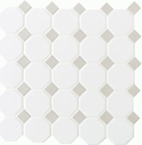 "Daltile Octagon Dot 12"" x 12"" Matte White with Gray Gloss Dot"