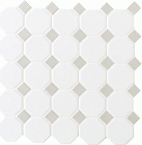 Daltile octagon dot 12 x 12 matte white with gray gloss for Sausalito tile