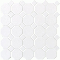 "Daltile Octagon Dot 12"" x 12"" Matte White with White Matte Dot"