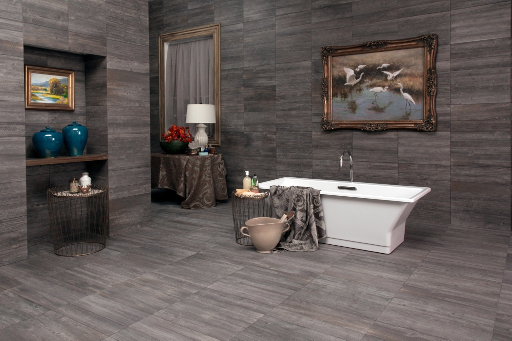 Interceramic Sunwood Centennial Gray Tile Flooring 7 1 Quot X 24
