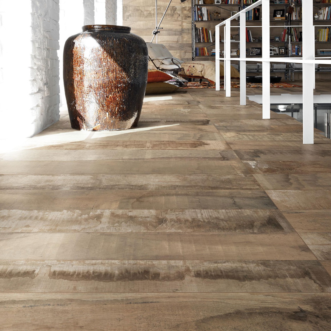 Industrial Flooring That Looks Like Wood: Provenza In-Essence Porcelain Tile Collection