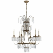 Alexandra Chandelier in Gilded Iron with Crystal
