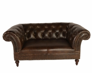 Leather Chesterfield Love Seat - QS
