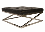Modern Tufted Leather Ottoman - QS