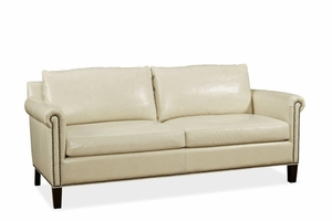 Soft Roll Arm Leather Couch - QS