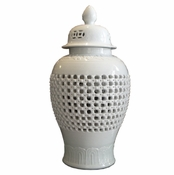 White Carved Temple Jar