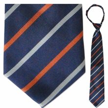 "Blue & Orange Striped 19"" Zipper Tie"