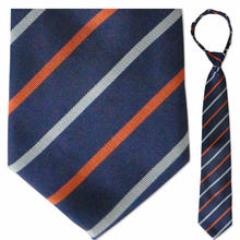 "Men's Woven Blue & Orange Striped 21"" Zipper-Tie"