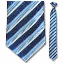 Men's Skinny Sparkling Blue + White Striped Clip-On Tie