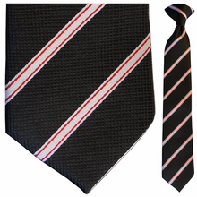 Boys Woven Black w/ Red + White Stripes Clip-On Tie