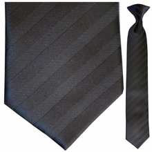 Boys Black Striped Clip-On Tie