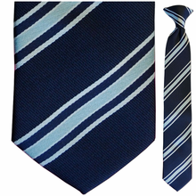 Boys Blue Striped Clip-On Tie