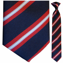 Boys Navy and Red Stripe Clip-On Tie