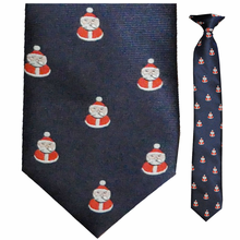 Boys Woven Navy Santa Clip-On Tie