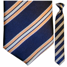 Boys Navy with Orange & Blue Stripes Clip-On Tie