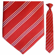 Boys Red w/ White + Blue Pin Stripes Clip-On Tie
