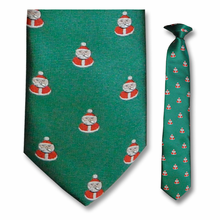 Boys Woven Green Santa Clip-On Tie