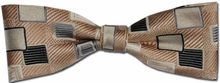 Boys Silk Woven Beige Box Pattern Bow Tie