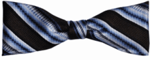 Boys Silk Woven Brown Blue & White Stripe Bow Tie