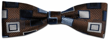Boys Silk Woven Brown Box Pattern Bow Tie