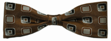 Boys Silk Woven Brown Boxes Pattern Bow Tie