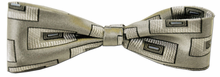 Boys Silk Woven Grey Box Pattern Bow Tie