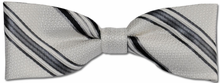 Boys Silk Woven White & Grey Stripe Bow Tie