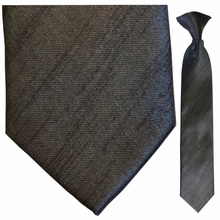 Boys Solid Charcoal Clip-On Tie
