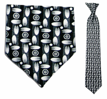 Junior Black/White Pac Pattern 14 inch Clip On Necktie