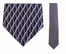 Junior Black/White Pattern Silk Tie