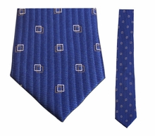 "Junior Blue Box Pattern Silk 14""Necktie"