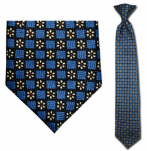 Junior Blue Daisy Pattern 14 inch Clip On Necktie