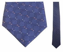 Junior Blue Link Pattern Silk Tie