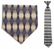 Junior Blue Oval Pattern 14 inch Clip On Necktie