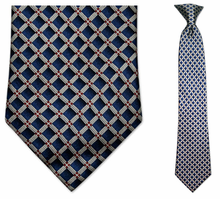 Junior Blue Square Pattern Silk 14 inch Clip On Necktie