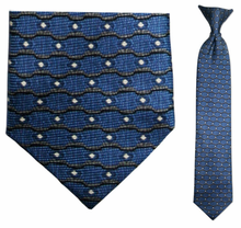 Junior Blue Wave Pattern Silk 14 inch Clip On Necktie