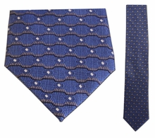 Junior Blue Wave Pattern Silk Tie