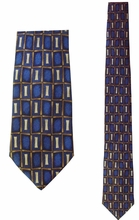 "Junior Boy's Blue ""I"" Pattern Silk Tie"