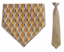 "Junior Gold Geometric Pattern Silk 14"" Clip On Necktie"