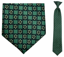 Junior Green Daisy Pattern 14 inch Clip On Necktie