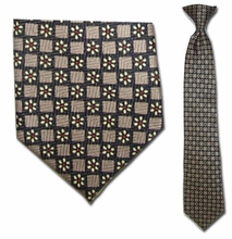 Junior Grey Daisy Pattern 14 inch Clip On Necktie