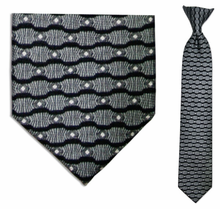 Boys Silk Woven Grey Wave Pattern Clip On Tie