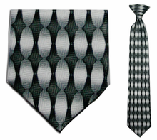 Junior Grey/White Oval Pattern 14 inch Clip On Necktie