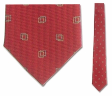 "Junior Red Box Pattern Silk 14"" Tie"