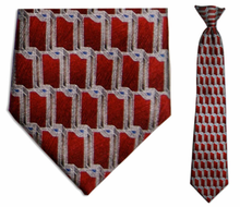 Junior Red Link Pattern Silk 14 inch Clip On Necktie